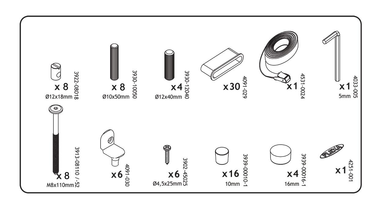 flexa ersatzteile schraubensatz f r einzelbetten. Black Bedroom Furniture Sets. Home Design Ideas